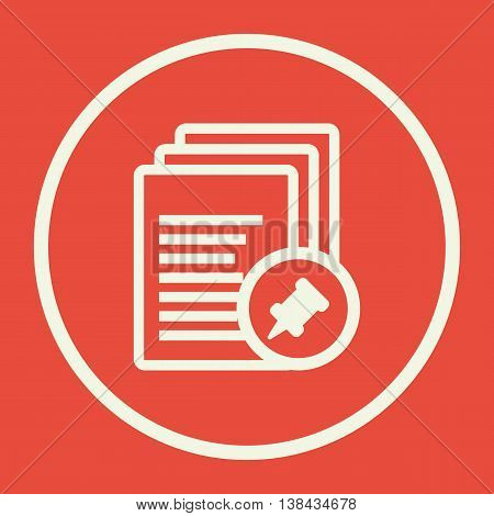 Files Pin Icon In Vector Format. Premium Quality Files Pin Symbol. Web Graphic Files Pin Sign On Red