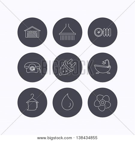 Ventilation, heat radiator and electric plug. Retro phone, shower and garage linear signs. Water drop, bath towel icons. Flat icons in circle buttons on white background. Vector