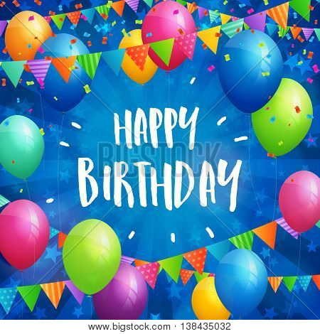 Birthday greeting card with balloons flags and confetti on blurred blue background with stars.