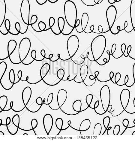 Doodle abstract pattern with ligature. Black and white colors. Seamless pattern can be used for  pattern fills web page backgroundsurface textures.