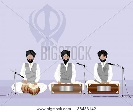 an illustration of sikh musicians playing at a temple with sikh symbol on a purple background