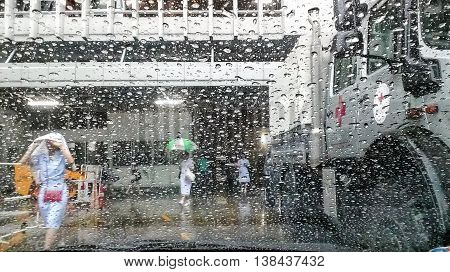 Pictures On 13 July 2016 At 16:00 Hrs. Storm Causes Heavy Rain In Bangkok. The Hospital Chulalongkor
