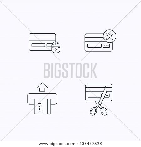 Bank credit card icons. Banking, blocked and expired debit card linear signs. Flat linear icons on white background. Vector