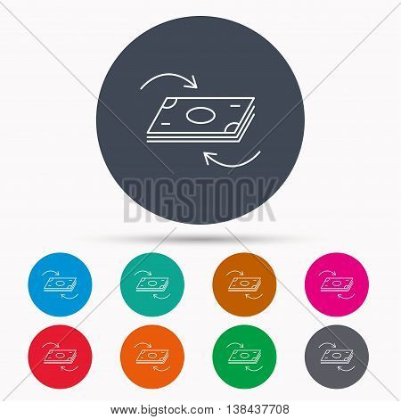 Money flow icon. Cash investment sign. Currency exchange symbol. Icons in colour circle buttons. Vector