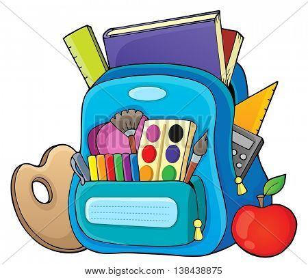 Schoolbag theme image 1 - eps10 vector illustration.