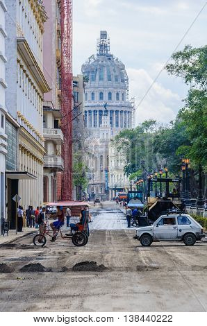 HAVANA, CUBA - MARCH 17, 2016: The Capitolio under construction and the roads being prepared for Obama's visit in Havana the capital of Cuba