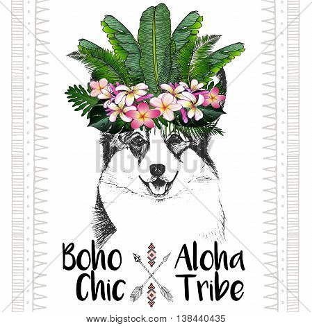 Vector close up portrait of welsh corgi wearing the exotic flower crown. Hand drawn domestic dog illustration. Tropical Hawaiian boho chic decoration with palm leaves and flowers. Aloha tribe