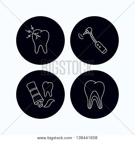 Toothpaste, dental tubules and toothache icons. Drilling tool linear sign. Flat icons in circle buttons on white background. Vector