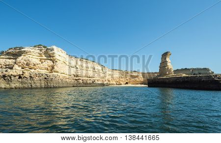 A view of the rocks on the sea near the Algarve coast in Portugal 2016