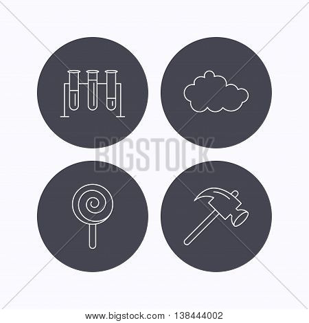 Hammer, lab bulbs and weather cloud icons. Lolly pop linear sign. Flat icons in circle buttons on white background. Vector