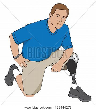 Left leg amputee kneeling on ground at rest