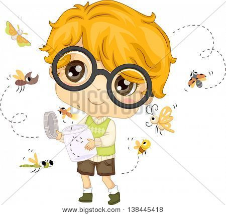Illustration of a Little Boy Setting Insects Free