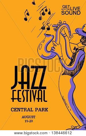 Musical creative poster with saxophone player. Jazz festival design concept invitation.