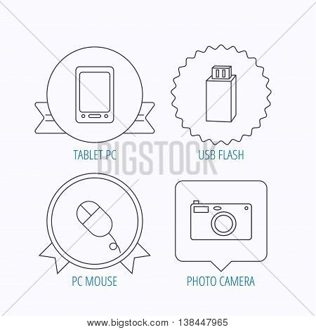 Tablet PC, USB flash and photo camera icons.PC mouse linear sign. Award medal, star label and speech bubble designs. Vector
