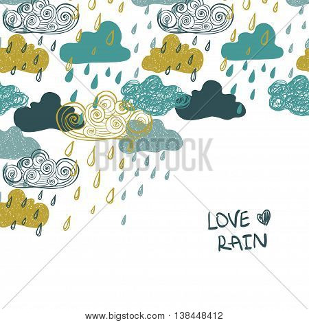 Illustration of cute colorful rain clouds. Creative rainy background or card.