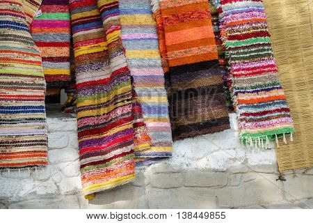 Detailed view of handmade rugs in la Alpujarra, Capileira, Spain