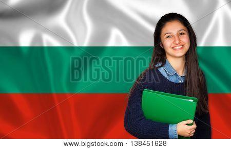 Teen Student Smiling Over Bulgarian Flag