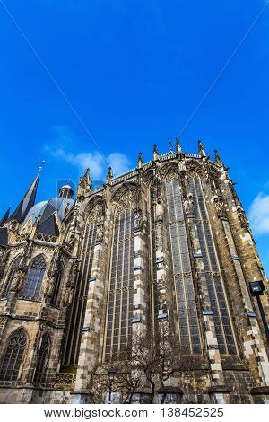 View at Aachen cathedral in Germany on a sunny day