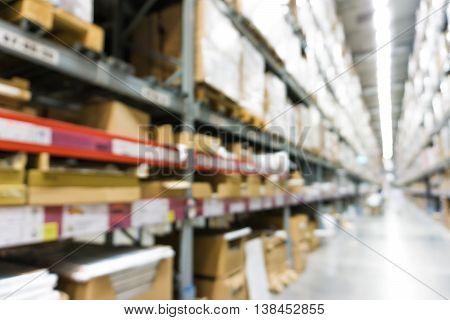 Warehouse Inventory In Defocus Store Blur Background