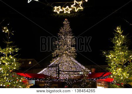 Nighttime Christmas Lights and Center Tree at Cologne Christmas Market