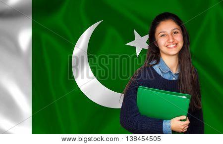 Teen Student Smiling Over Pakistani Flag