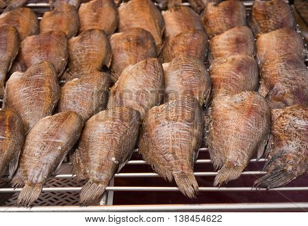 Dried Gourami fish for sale in the market, Thailand.