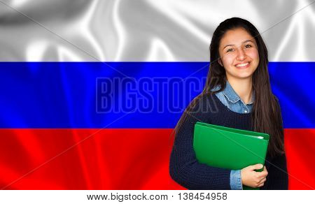 Teen Student Smiling Over Russian Flag