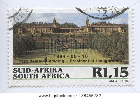 Pretoria, South Africa - May 10, 1994: Stamp of the Presidential Inauguration and a famous event and popular political landmark