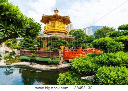 Hongkong Temple Pavilion of Absolute Perfection in the Nan Lian Garden with river Hong Kong. poster