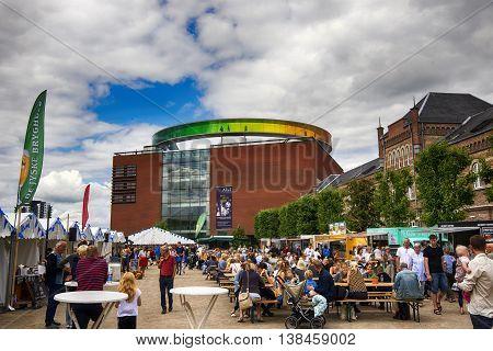AARHUS DENMARK - JULY 13 2016: Food Market close to Art museum Aros. Officerpladsen close to Ridehuset. July 13 2016