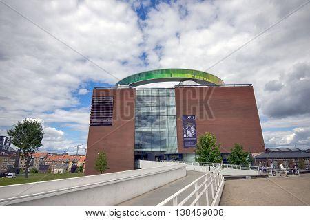 AARHUS DENMARK - JULY 13 2016: Art museum in Aarhus Aros. Panoramic walkway created by Danish-Icelandic artist Olafur Eliasson on the roof of the museum. July 13 2016