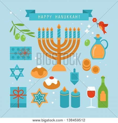 Hanukkah holiday flat stylish icons set. Vector illustration