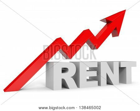 Graph up rent arrow on white background. 3D illustration.