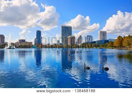 Orlando skyline fom lake Eola in Florida USA