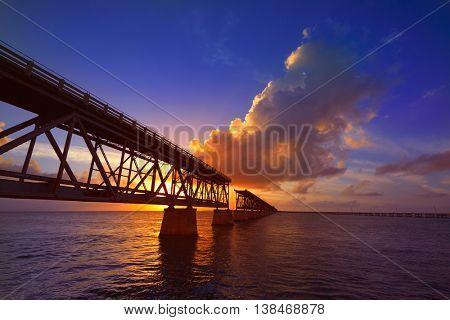 Florida Keys old bridge sunset at Bahia Honda Park in USA