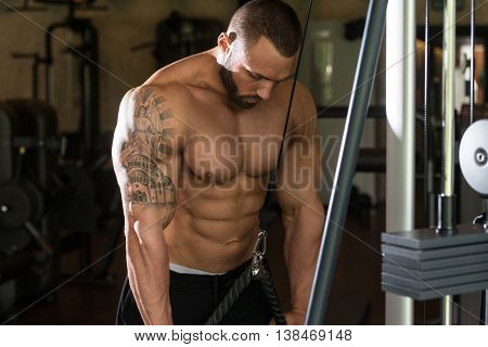 Bodybuilder Exercise Triceps With Cables