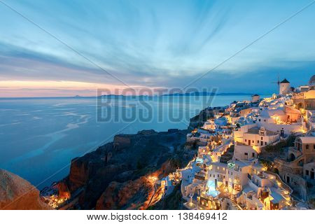 Beautiful night view of the village Oia, Santorini Island, Greece.