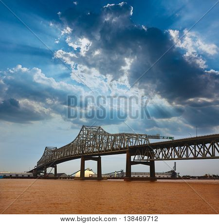 Louisiana Baton Rouge Horace Wilkinson Bridge Interstate i10 over Mississippi river USA