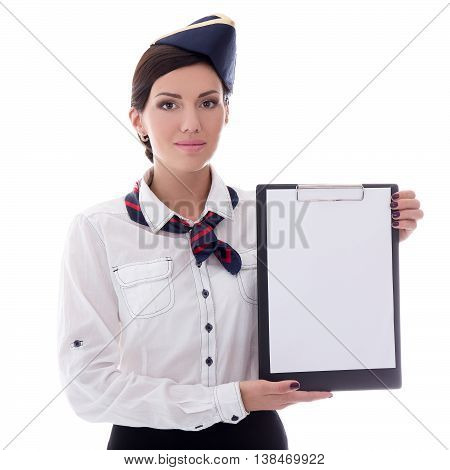 Portrait Of Young Stewardess With Blank Clipboard Isolated On White