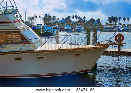 Daytona Beach in Florida marina boats at Halifax river USA US
