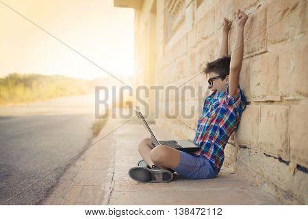 Jubilant boy using a pc