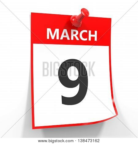 9 March Calendar Sheet With Red Pin.