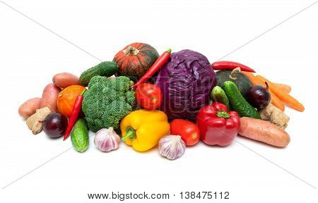 healthy food: fresh ripe vegetables close-up. horizontal photo - white background.
