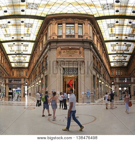 ROME ITALY - JUNE 30: Galleria Alberto Sordi in Rome on JUNE 30 2014. Galleria Colonna Shopping Arcade at Via del Corso in Rome Italy.