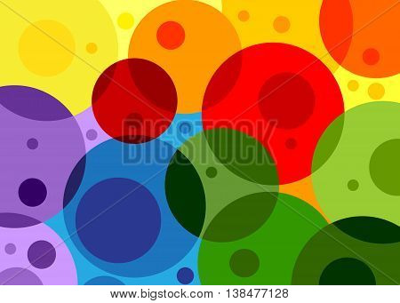 Transparent circles color of the rainbow, illustration.