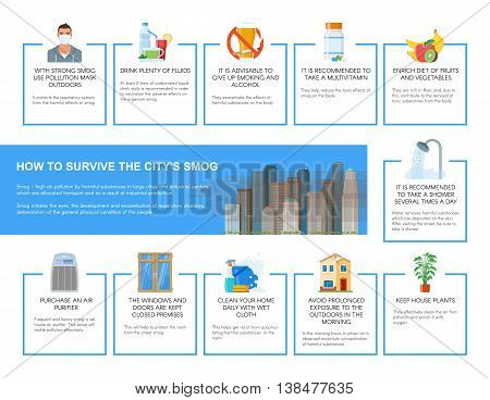 Smog infographic vector illustration. How to survive in city with smog. Design elements and icons in flat style. Pollutions and ecology risk concept.