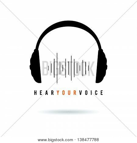 Headphone Hear Voice Icon Illustration In Black