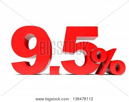 Red Nine Point Five Percent Off. Discount 9.5 Percent.