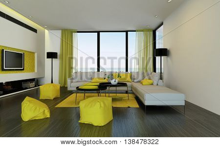 Interior of luxury condominium living room with yellow soft chairs, widescreen tv, modular sofa and curtains over hardwood floor. 3d Rendering.