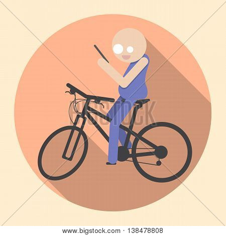 Man with Smartphone riding bicycle. Flat icon. Stock vector illustration.